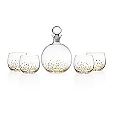 image of Fitz and Floyd Confetti 5-Piece Decanter Set in Black/Gold