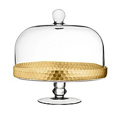 image of Fitz and Floyd® Daphne Pedestal Cake Plate with Dome in Gold