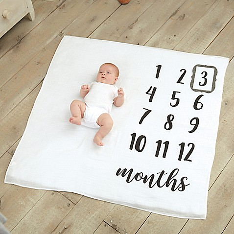 Baby keepsakes trinket boxes and piggy banks for kids bed bath image of mud pie monthly milestone blanket in white negle Choice Image
