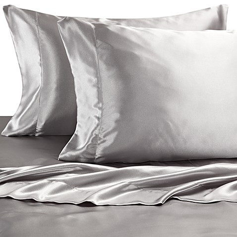 Buy satin luxury sheet set from bed bath beyond for Silk sheets queen bed bath beyond