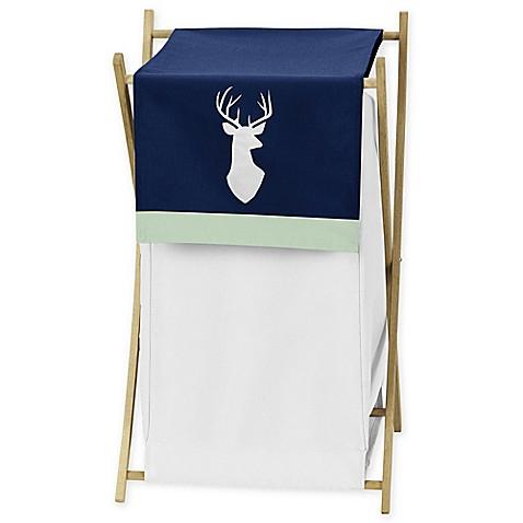 Sweet Jojo Designs Woodsy Laundry Hamper Navy White Bed