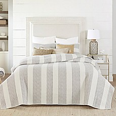 image of Coastal Living® Nautical Stripe Reversible Quilt Set
