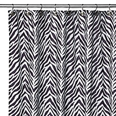 image of Watershed® Single Solution™ 2-in-1 Zebra Fabric Shower Curtain - Black/White