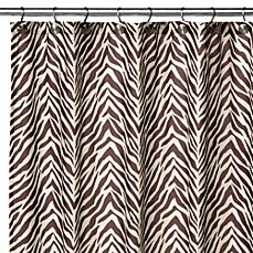image of Watershed® Single Solution® 2-in-1 Zebra 72-Inch x 72-Inch Shower Curtain in Brown/Natural