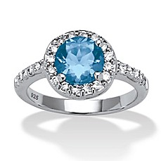 image of Palm Beach Jewelry Sterling Silver Simulated Aquamarine and Cubic Zirconia Size 8 Birthstone Ring