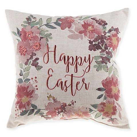 Mini Easter Wreath Square Throw Pillow in Natural