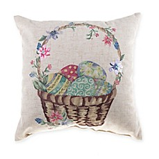 image of Easter Basket Mini Square Throw Pillow in Natural