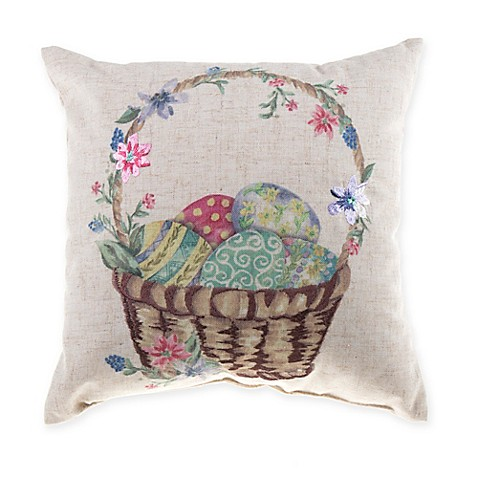 Mini Eggs in Basket Square Throw Pillow in Natural