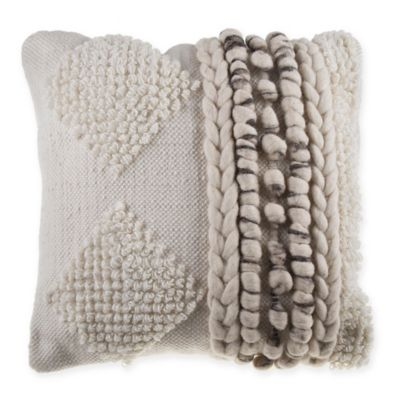 image of Diamond Stripe Nubby Square Throw Pillow