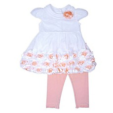 image of Nanette Baby® 2-Piece Satin Rose Dress and Spandex Legging Set in Ivory