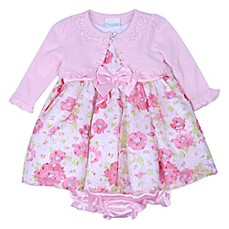 image of Nannette Baby® 3-Piece Floral Cardigan, Dress and Diaper Cover Set in Pink