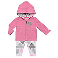 image of Boppy® 2-Piece Heart Hooded Cardigan and Legging Set in Pink