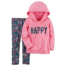 image of carter's® 2-Piece Happy Hoodie and Leggings Set in Pink
