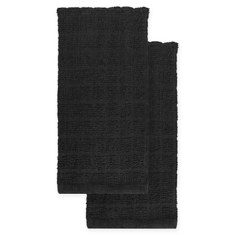 KitchenSmart® Colors 2-Pack Solid Kitchen Towels in Caviar