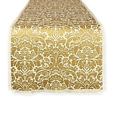image of Design Imports Burlap Damask 72-Inch Table Runner in Gold