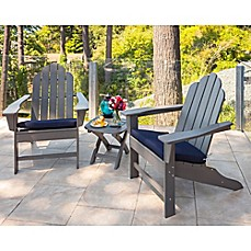 image of POLYWOOD® Long Island 3-Piece Outdoor Adirondack Chair Set in Grey