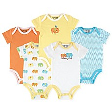 image of Luvable Friends® 5-Pack Elephant Hanging Bodysuits in Yellow/Orange
