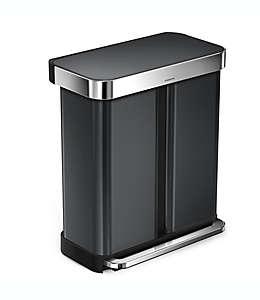 simplehuman® Bote de basura con pedal y doble compartimento de acero inoxidable en negro, 57.91 L