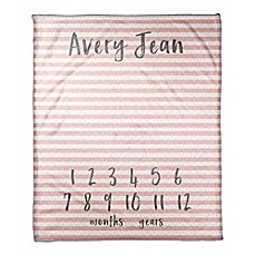 image of Designs Direct Stripes and Dots Milestone Throw Blanket in Pink