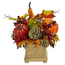 Faux floral arrangements silk flowers faux plants bed bath beyond nearly natural 11 inch berry and maple leaf artificial arrangement with vase mightylinksfo