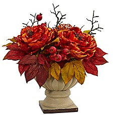 image of Nearly Natural Peony and Sedum Artificial Arrangement