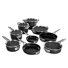 image of Calphalon® Premier Space Saving Hard Anodized Nonstick 15-Piece Cookware Set and Open Stock