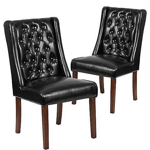 Preston tufted leather parsons chairs in black set of 2 for Black leather parsons chairs