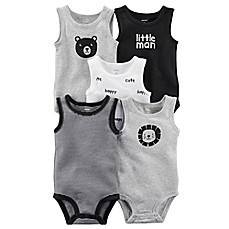 image of carter's® 5-Pack Sleeveless Bodysuits in Grey/Black