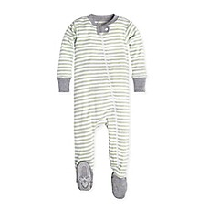 image of Burt's Bees Baby® Mini Stripe Footie in Green