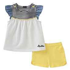 image of Nautica Kids® 2-Piece Flutter-Sleeve Top and Short Set in White/Yellow