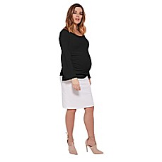 image of Stowaway Collection Bell Sleeve Maternity Top in Black