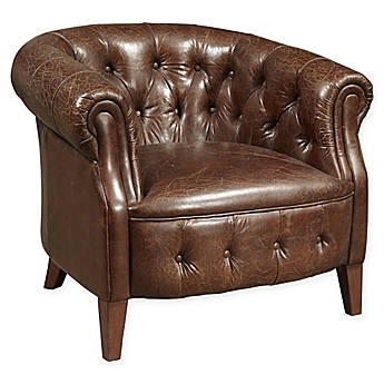 Image Of Tufted Leather Arm Chair In Brown