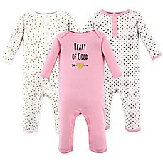 image of Hudson Baby® Size 3-Pack Heart Union Suits