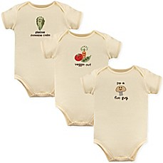 image of Touched by Nature 3-Pack Fun Guy Organic Cotton Bodysuits in Beige