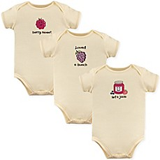 image of Touched by Nature 3-Pack Let's Jam Organic Cotton Bodysuits in Beige