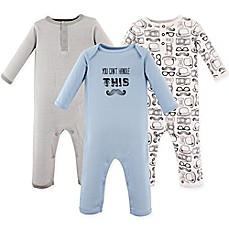 image of Hudson Baby® 3-Pack Mustache Long Sleeve Union Suits