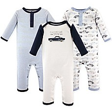 image of Hudson Baby® 3-Pack Cars Union Suits