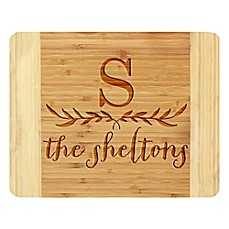 image of Stamp Out Big Initial and Leaves 11-Inch x 14-Inch Bamboo Cutting Board