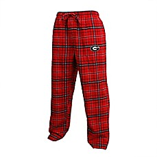 image of University of Georgia Men's Flannel Plaid Pajama Pant with Left Leg Team Logo