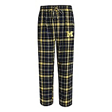 image of University of Michigan Men's Flannel Plaid Pajama Pant with Left Leg Team Logo