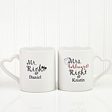 image of Mr. and Mrs. Right Lover's 2-Piece Mug Set in White