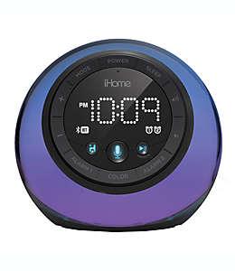Reloj despertador iHome® con doble alarma y luces de color en negro