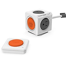 image of Allocacoc PowerCube 4-Outlet Surge Protector with Battery-Free Remote in White/Orange