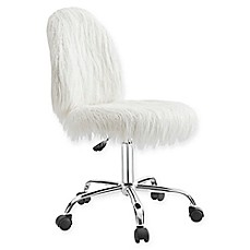 Linon Home Flokati Faux Fur Office Chair In White