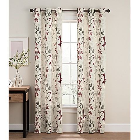 Caprice 108 Inch Grommet Window Curtain Panel Pair In Red