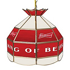 image of Budweiser™ Logo Stained 16-Inch Stained Glass Lamp in Red