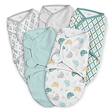 image of SwaddleMe® Original Small/Medium Elephant Cotton 5-Pack Swaddles in Teal/Grey