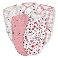 image of SwaddleMe® Original Small/Medium Floral Cotton 5-Pack Swaddles in Pink