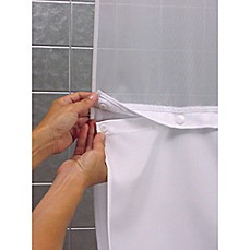 image of Hookless® It's a Snap™ Fabric Shower Curtain Liner in White