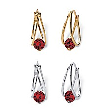 image of Palm Beach Jewelry Silvertone and Goldtone Simulated Birthstone 2-Piece Split-Hoop Earrings